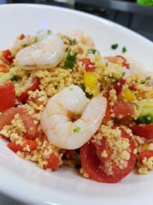 Shrimps and couscos salad