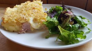 Potato ham with ham and cheese