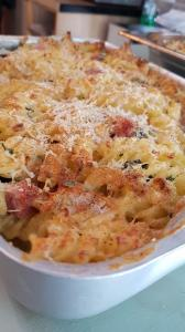 Bacon and spinach baked pasta